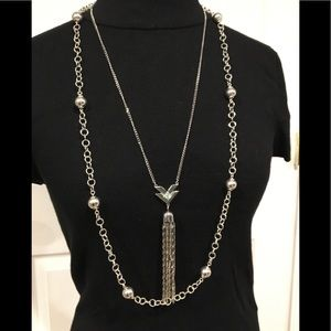 Sweater necklaces Silvertone